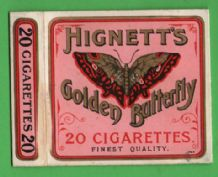 Antique English cigarette Golden Butterfly by Hignett's #207